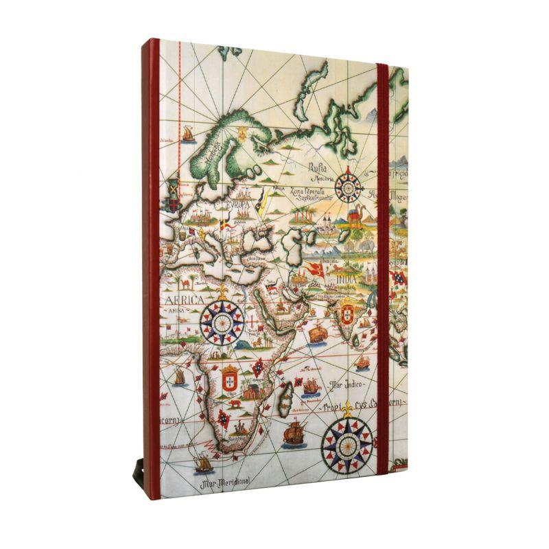 Caderno A5 Mapa dos Descobrimentos portugueses - séculos XV e XVI